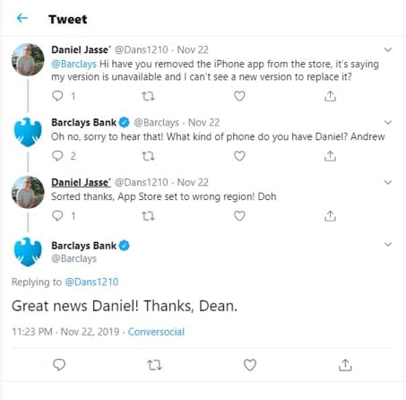 Barclays Twitter Tweet