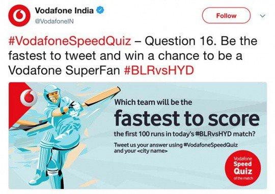 Vodafone India on Twitter - VodafoneSpeedQuiz – Question 16 Be the fastest to tweet and win a chance to be a Vodafone SuperFan
