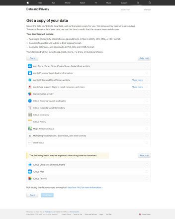 Cómo descargar tu información personal de Apple