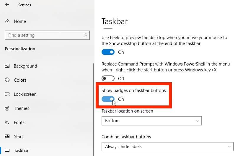 Insignia de configuración para la barra de tareas