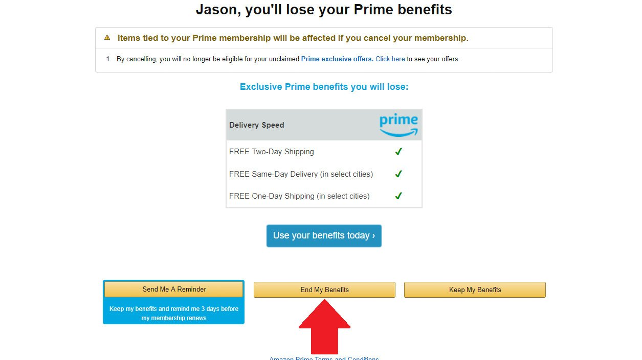 Cómo cancelar Amazon Prime