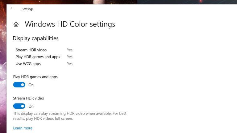 Cómo jugar y ver videos en HDR en Windows 10