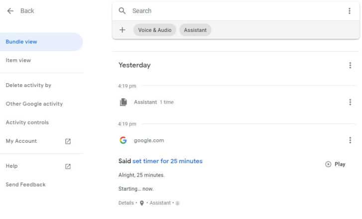 Para eliminar todas las grabaciones de voz de la página de inicio de Google