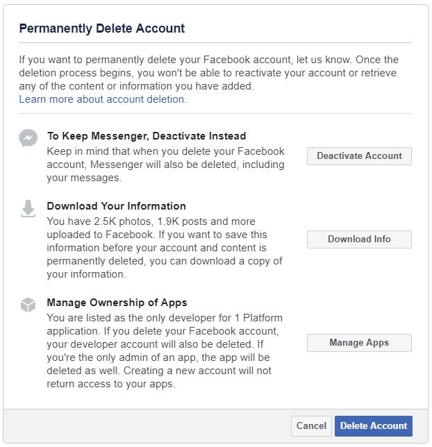 Para eliminar su cuenta de Facebook