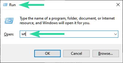 ejecutar la Terminal de Windows desde el menú Ejecutar