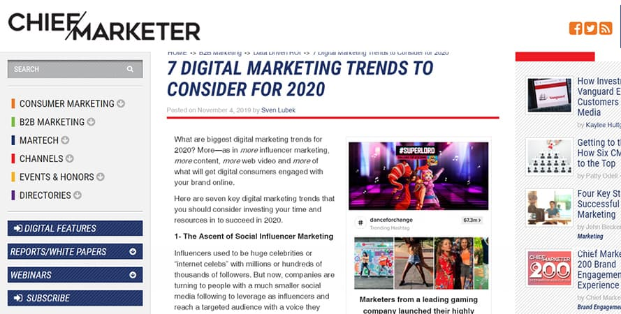 chiefmarketer- Digital Marketing Trends 2020