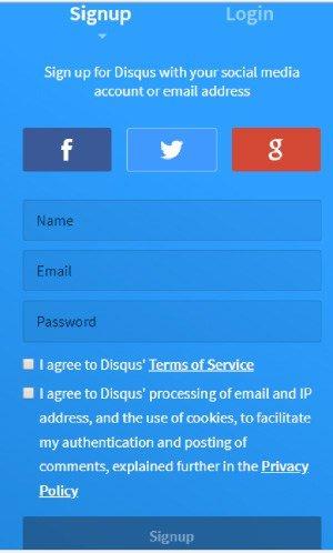 register on Disqus